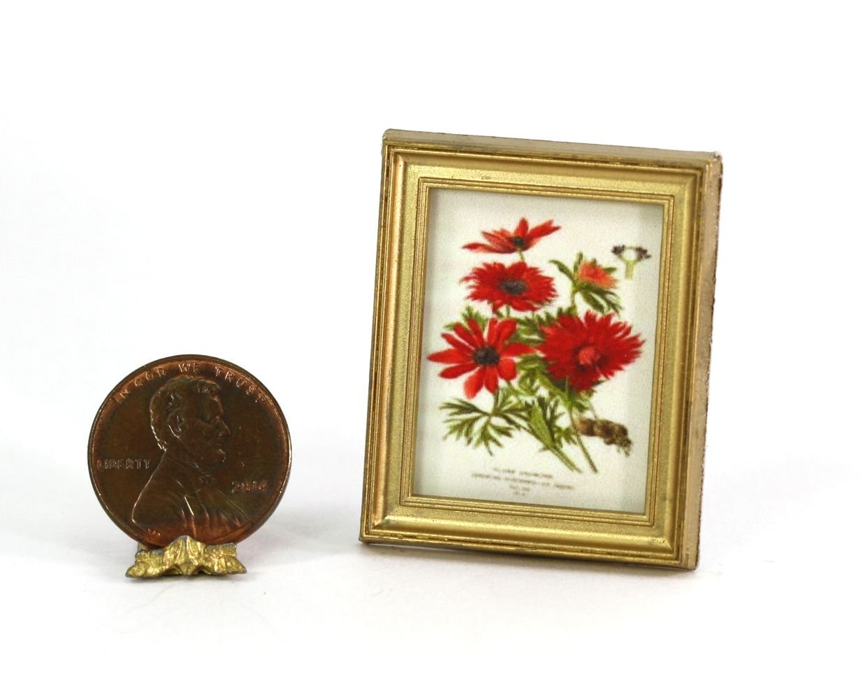 Dollhouse Miniature Gold Framed Picture of a Vintage Botanical Print