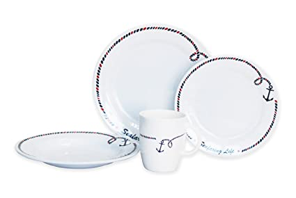 Amazon.com | Norestar Non-Skid 16-Piece Melamine Dishware Set for ...