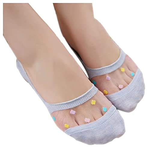 Women Sheer Socks Inkach Trendy Girls Lace Socks Footprints Cotton Net Socks Floor Socks