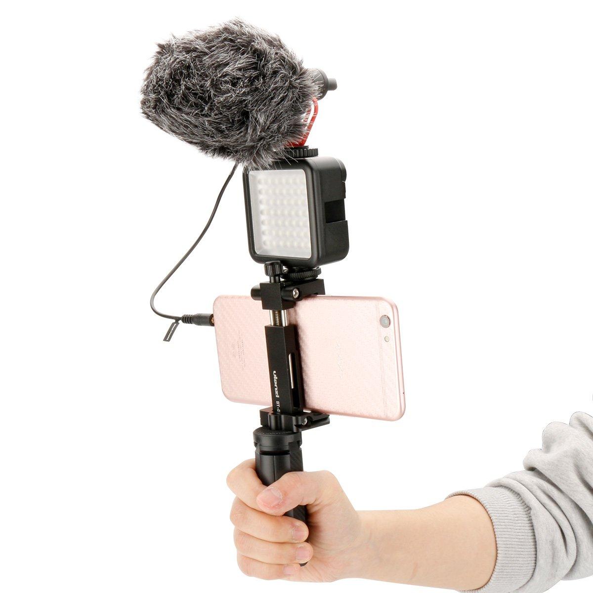 Wildhooy compatibile con Custodia protettiva V2 Custodia Vlogging Supporto gabbia telaio con microfono da Supporto adattatore scarpa fredda Compatibile per GoPro 7 6 5 Accessori per action camera