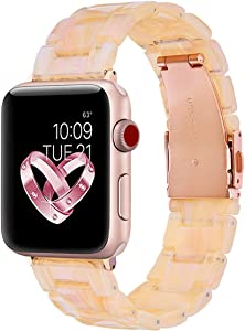 V-MORO Compatible Apple Watch Band 38mm 40mm Women - Resin Apple Watch Band Bracelet Metal Stainless Steel with Gold Buckle for Apple Watch Series 5 Series 4 Series 3 Series 2 - Pearly Floral Pink