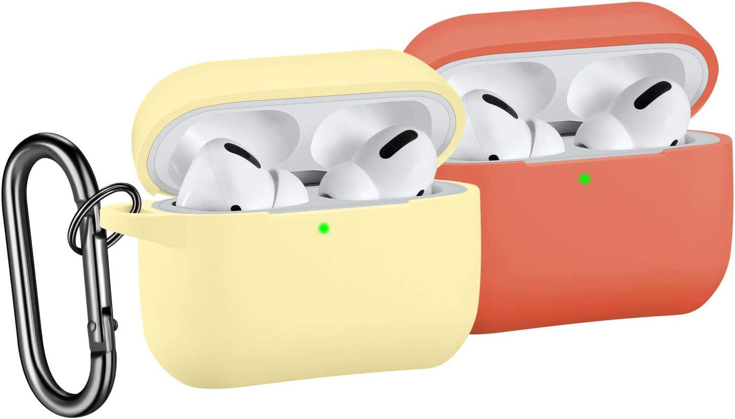 [2 Pack] SNBLK Designed for Airpods Pro Case Cover Silicone Protective Charging Case Skin with Keychain Compatible for Apple Airpods Pro 2019, (Front LED Visible) Yellow/Coral