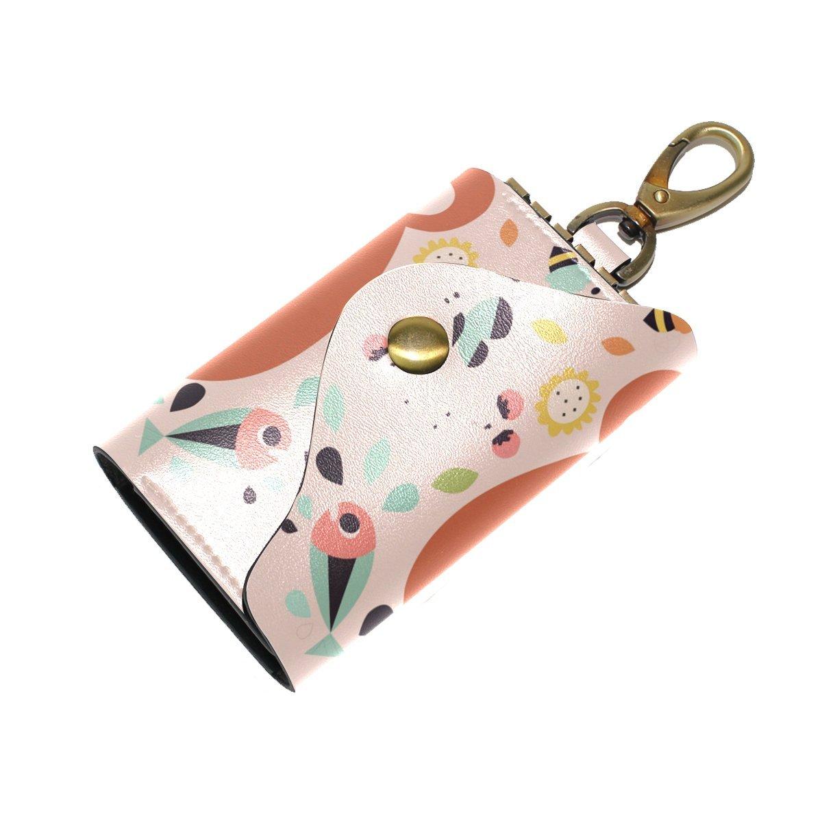 DEYYA Cartoon Animal Fox Leather Key Case Wallets Unisex Keychain Key Holder with 6 Hooks Snap Closure