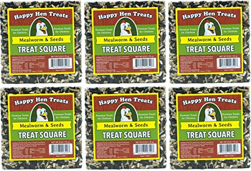 Square Treats ((Case of 6) Happy Hen Treats 6-Ounce. Square-Mealworm and Seed, 4.25 x 4.25 x 1.25 Inches)