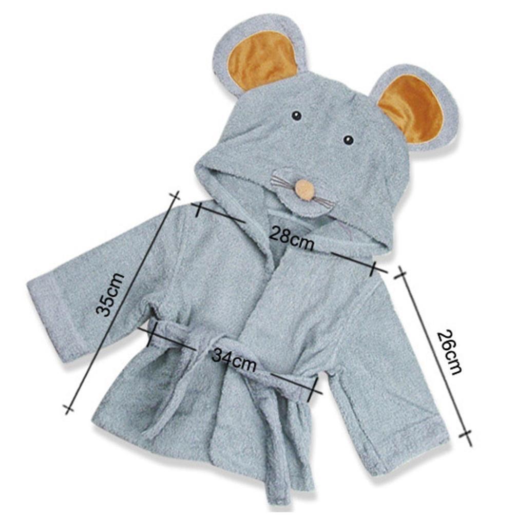 Mainaisi Baby Hooded Bathrobe Towels Cotton Cartoon Animal Wrap for Infant 0-3years Monkey