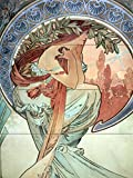 Poster girl sunset decoration by Alphonse Mucha Tile Mural Kitchen Bathroom Wall Backsplash Behind Stove Range Sink Splashback 3x4 6'' Ceramic, Glossy
