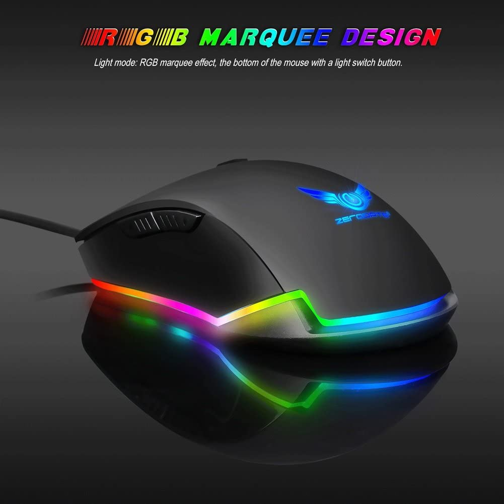 Trissem Mechanical Gaming Mouse Programmable Marcos 4400DPI RGB Breathing Light Wired Mouse Black Color : Black