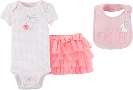 New  Baby Girl Carters My First Easter Bib Bunny Flowers  Pink