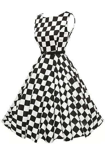 34857421ade8 Womens 50 s Retro Black White Plain Swing Dress  Amazon.co.uk  Clothing