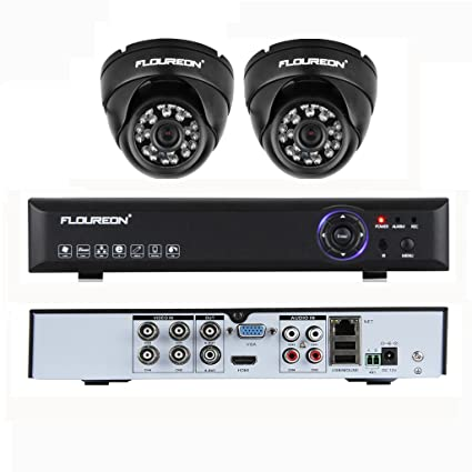 FLOUREON Kit de Video vigilancia para Seguridad hogar CCTV DVR 4 ch 960H Grabador con 2
