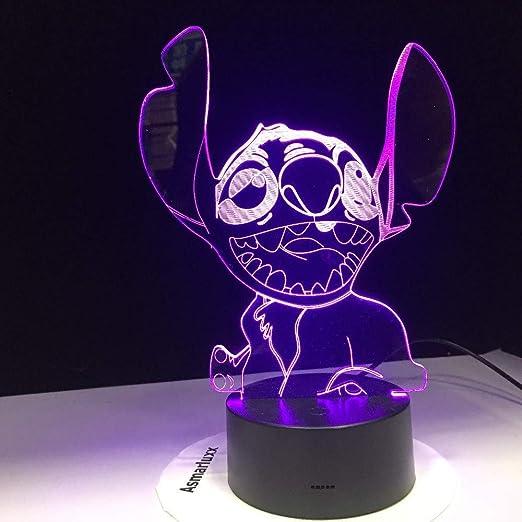 3D Lámpara De Escritorio Stitch Lámpara Led 3D Nuevo Dormitorio ...