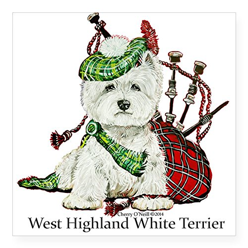"""CafePress Highland Westie Sticker Square Bumper Sticker Car Decal, 3""""x3"""" (Small) or 5""""x5"""" (Large)"""