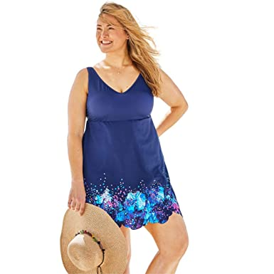 7cb7fc563e79d Woman Within Plus Size Floral Border Swimdress with Tummy Control at Amazon  Women s Clothing store