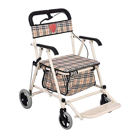 Teng Peng El plegado del carro de la compra Old Man se puede sentar en el