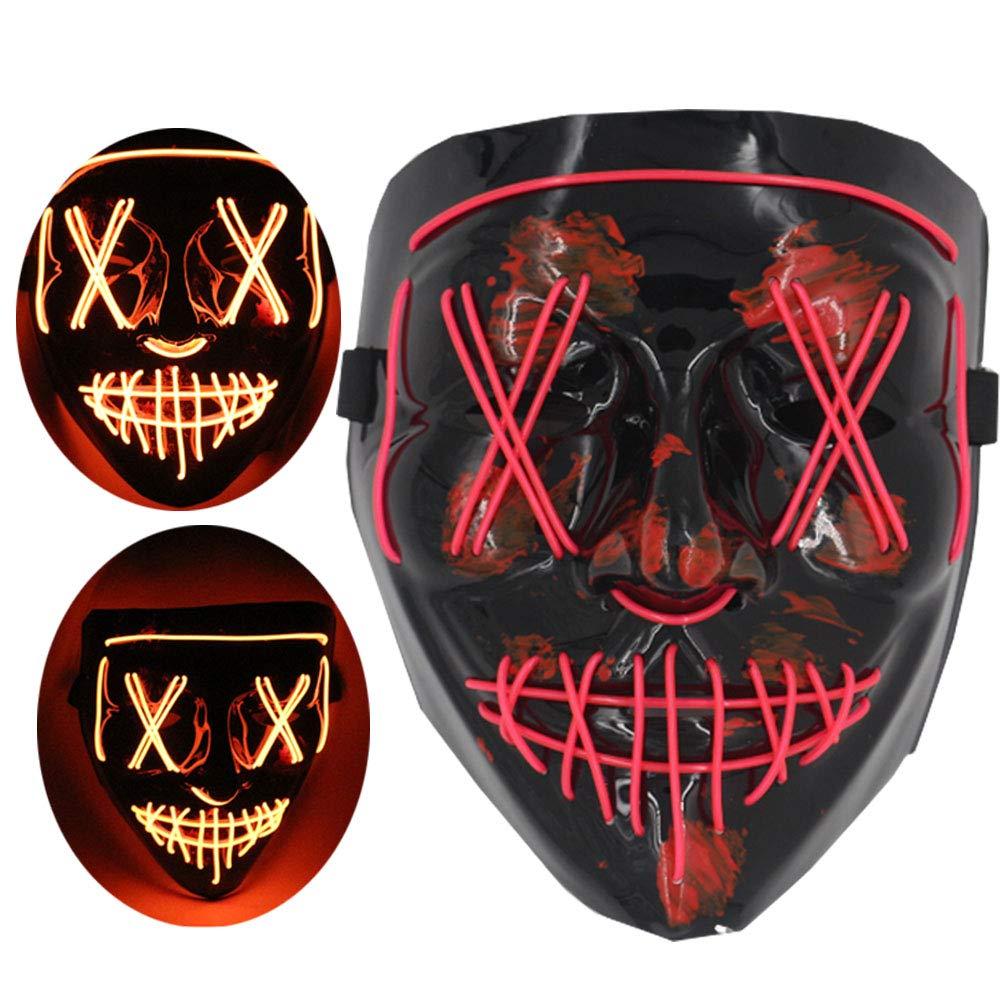 M/áscara de Terror Diversi/ón Rojo Queta LED Mascara de Halloween