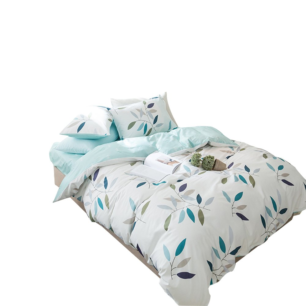 ORoa 3 Piece Duvet Cover Set Queen 2 Pillow Shams for Girls Woman - Hotel Quality 100% Cotton - Luxurious, Comfortable, Breathable, Soft and Extremely Durable, Blue White Leaves Pattern