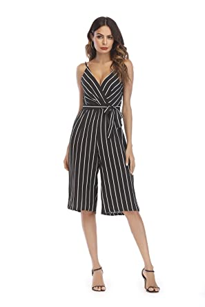 e7064627e9a10 OUMAL Women Summer Rompers Junior Girls Striped V Neck Casual Short Rompers  with Belt