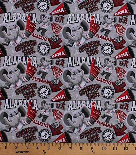 Cotton University of Alabama Crimson Tide Bama UA Big Al Elephant Mascot Logos Allover on Gray NCAA College Sports Team Digital Print Cotton Fabric Print by The Yard (D663.52)