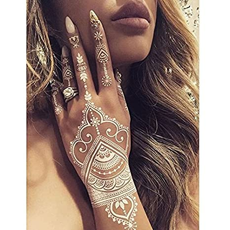 6 Sheets Henna Temporary Tattoo Stencils For Hand Leg Arm Feet  Self,Adhesive Body Art Decal