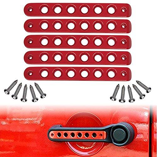 Opall Front Door & Back Door Aluminum Grab Handle Cover For 2007 - 2016 Jeep Wrangler JK & Unlimited 4 Door 5pcs/set (Red)