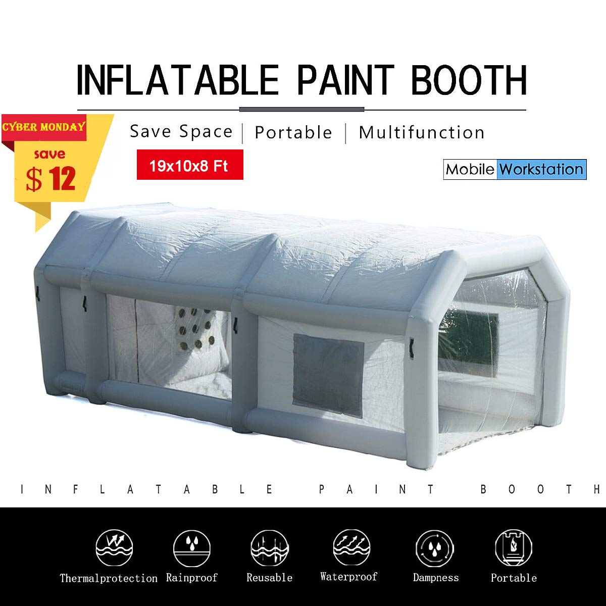 SILIVN 26x13x10Ft Mobile Inflatable Paint Spray Booth Tent Portable Car Workstation (with 2 Blower) by SILIVN