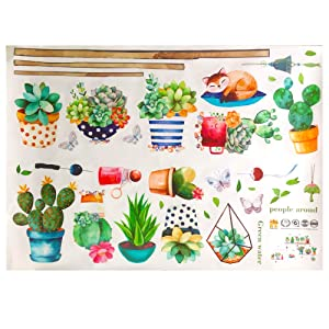 Watercolor Cactus Succulent Plants Wall Decals, Collage Green Plants Wall Stickers, Removable Pastoral Art Wall Decor for Kids Room, Bedroom, Nursery Room,Living Room (Potted Stickers)