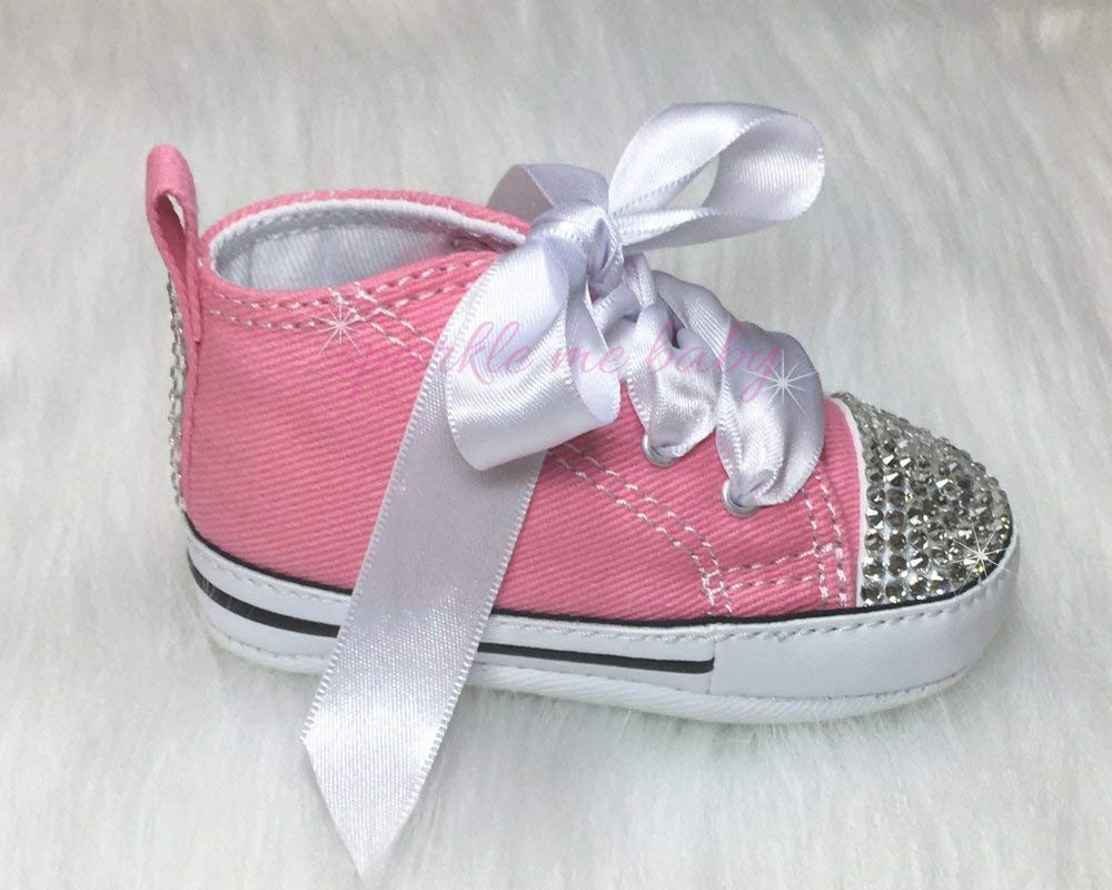907a01a3ad5 Amazon.com  Bling Baby Authentic Crib Shoes in Pink plus MORE Colors NOW ~  Infant Sizes ~ Customized for you by Sparkle Me Baby 2u  Handmade