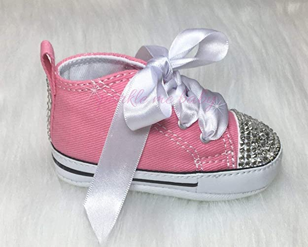 4dace01c3073 Amazon.com  Bling Baby Authentic Crib Shoes in Pink plus MORE Colors NOW ~  Infant Sizes ~ Customized for you by Sparkle Me Baby 2u  Handmade