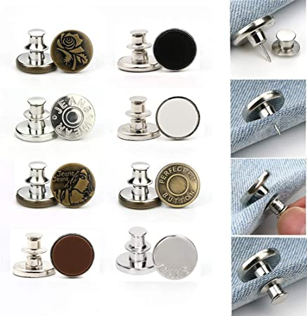 [Upgraded] 8PCS Perfect Fit Instant Button, Adjustable Jeans Button Instant, 1 inch Buttons Adds Or Reduces an Inch to Any Pants Waist in Seconds