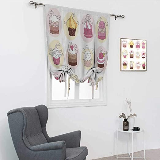 Amazon Com Gugeabc Modern Farmhouse Curtains Cupcakes Bakery Pastry Design Confectioners Decorations Cake Retro Style Decor Tie Up Curtains For Window Pastel Pink Cream 39 X 64 Home Kitchen