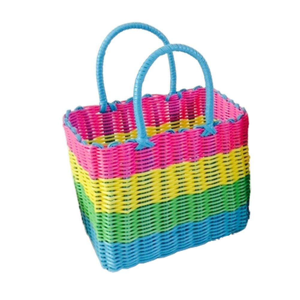 Blancho Woven Basket With Handles Storage Baskets Multipurpose Organizer,stripe,C Blancho Bedding
