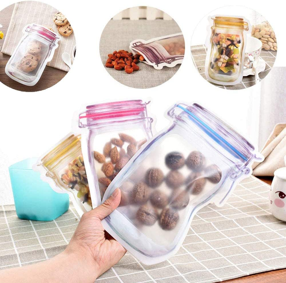 Alimentari,Frutta WELLXUNK 12 Pezzi Sacchetti per Conservare Alimenti Cibo Storage Bag Mason Jar Borsa Riutilizzabile Sigillo Ermetico Borse di Conservazione degli Alimenti,per Snack