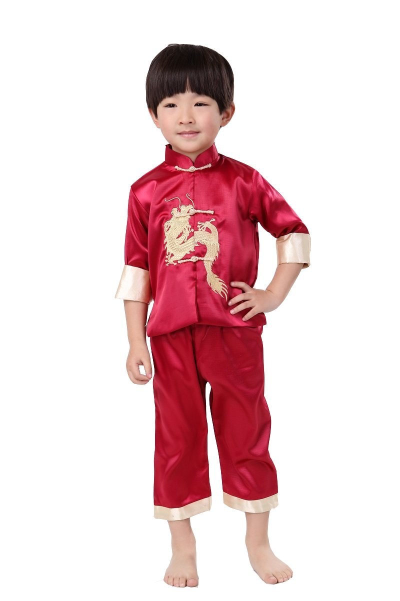 ACVIP Boy's Chinese Dragon Embroidery Sport Light Jacket and Pants Suit 2-11Y
