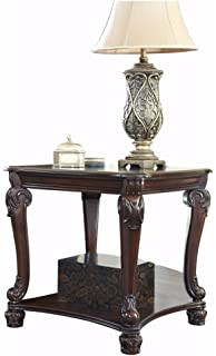 Ashley Furniture Signature Design   Norcastle End Table   Ornate Style    Square   Dark Brown