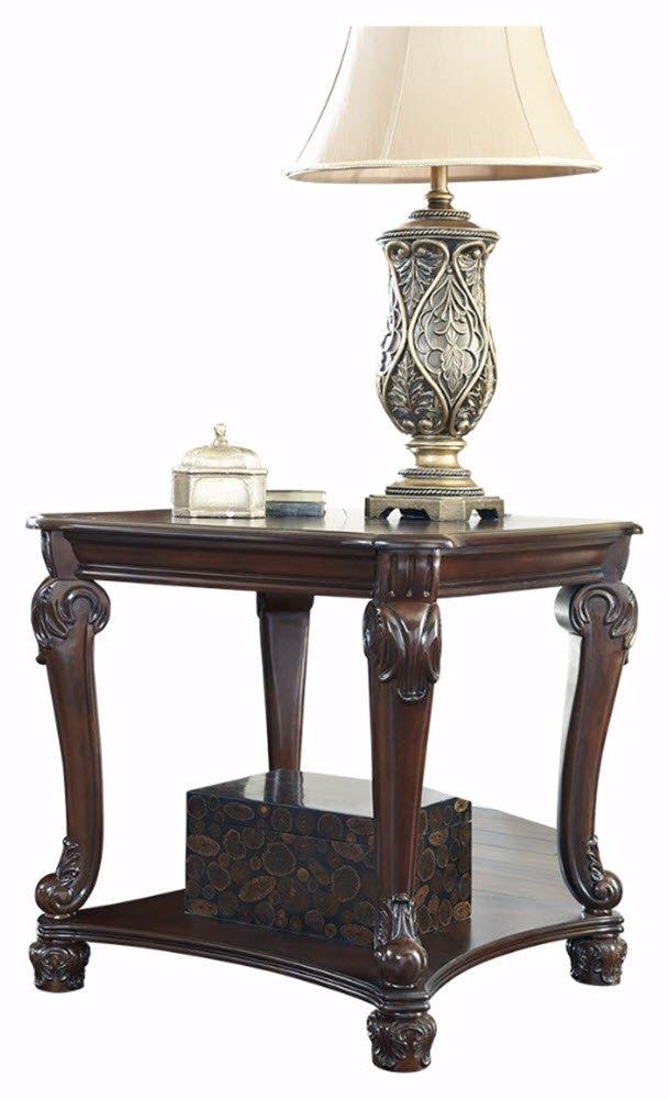 Ashley Furniture Signature Design - Norcastle End Table - Ornate Style - Square - Dark Brown