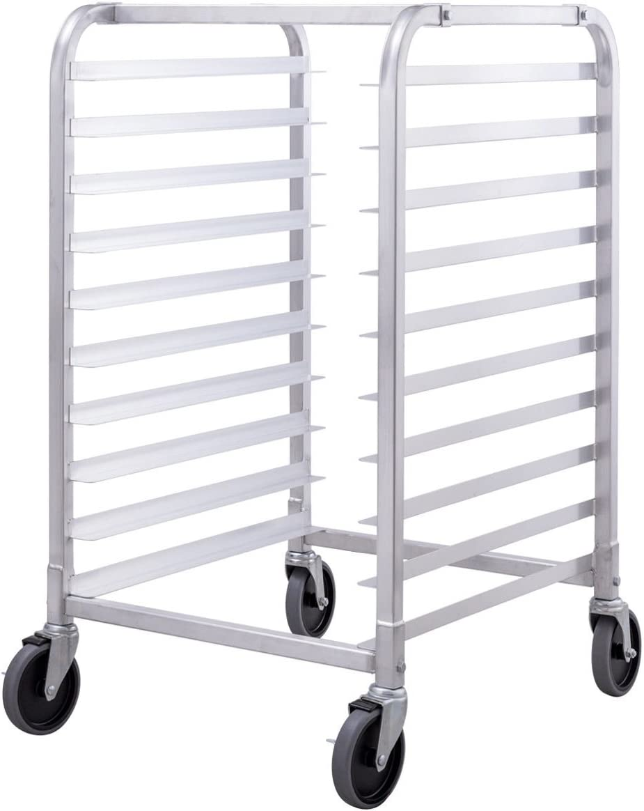 COSTWAY VD-44420KC 10 Aluminum Kitchen Bun Pan Sheet w/Wheels 2 Lockable Home Commercial Use Bakery Cooling Rack Open Shelf, Silver