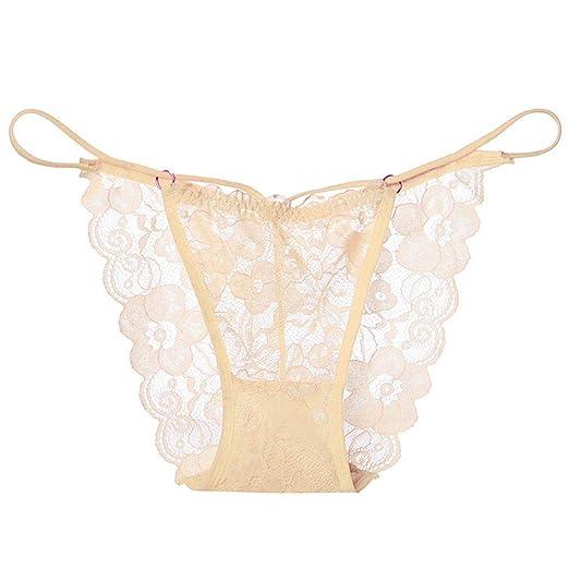 e5fb44c26c4d3 Amazon.com  Kanzd Women s Lace Lingerie Knickers G-String Thongs Panties  Underwear Briefs (Beige)  Clothing