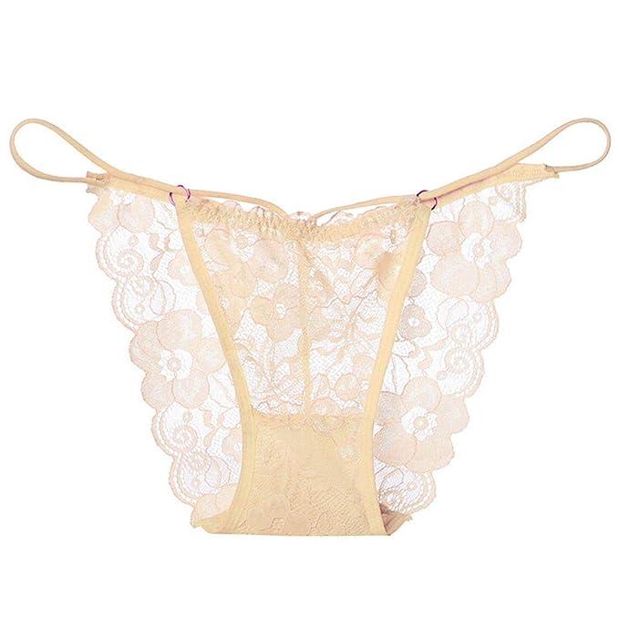 4243b478ef3 Kanzd Women s Lace Lingerie Knickers G-String Thongs Panties Underwear  Briefs (Beige)