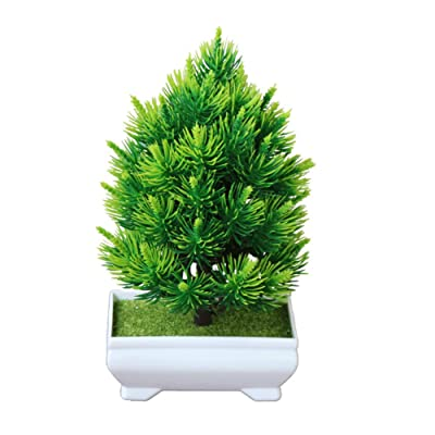 litymitzromq Artificial Flowers Outdoor Plants, 1Pc Potted Artificial Pine Tree Bonsai for Home Desk Patio Yard Garden Stage Office Wedding Restaurant Party Cafe Shop Decoration Gift Green: Home & Kitchen