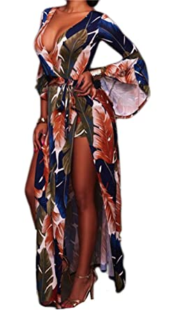 6820c7a220cb Yayun Yayu Womens Deep V-Neck Floral Bell Sleeve Slit Shorts Flowy Party Maxi  Dress