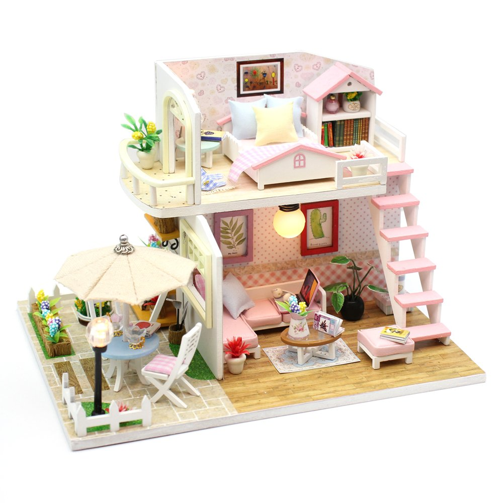 Wyd Wyd DIY DIY Apartmentsピンクロフト木製ドールハウスミニチュア人形House LEDライトアセンブリキット3dパズルクラフトトイクリエイティブ子供誕生日ギフト B07CMTNXBD, スマホ 手帳型 ケースShop ENYU:9ae41ad4 --- alumnibooster.club