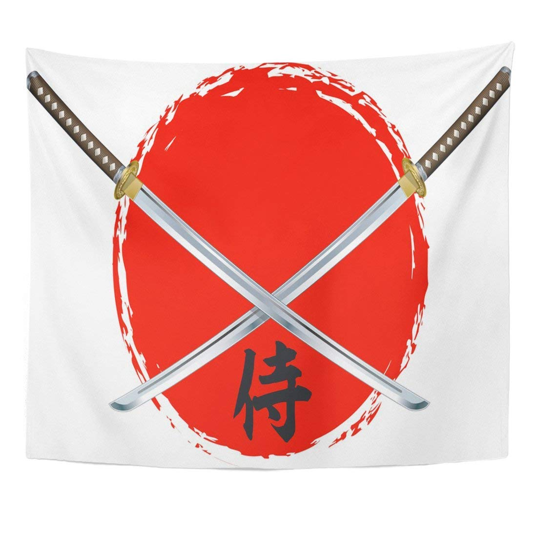 Tapestry Katana Samurai Swords and Text Japan Japanese Home Decor Wall Hanging for Living Room Bedroom Dorm 50x60 inches