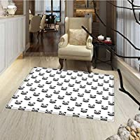 Tattoo Door Mats Area Rug Stylized Panda Bear Portraits Cute Mascots Pattern for Children in Black and White Bath Mat Bathroom Mat with Non Slip 30x48 Black White