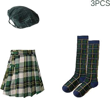Traje Sombrero de Escocia Tartán Plano Gorra Boinas Minifalda ...