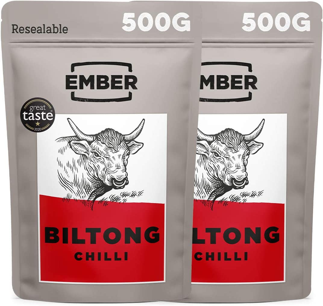 Ember Biltong 1kg – Beef Jerky - Cecina de Vaca - Aperitivo alto en Proteínas - Chilli (2x500g)