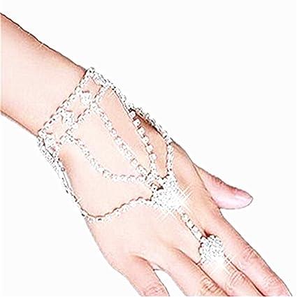 38a1e864bd020 homiki Parure de main Femme Vogue Cristal Mariée Noces Chaîne Liée Bracelet  avec Bague Bijou de