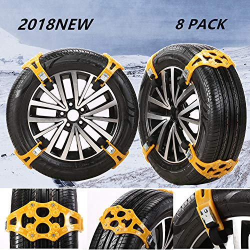 """JOJOMARK Tire Chains Snow Chains for Cars/SUV/Truck/ATV Anti-Skip for Safety Emergency Ice Snow Mud Sand with 2018 Upgrade TPU Width 6.5""""-10.8""""(165mm-275mm)(8 Pack) (Black)"""