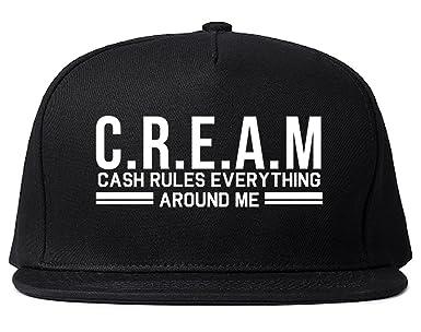 e450f9f2814 Amazon.com  Kings Of NY Cream Cash Rules Everything Around Me Snapback Hat  Black  Clothing