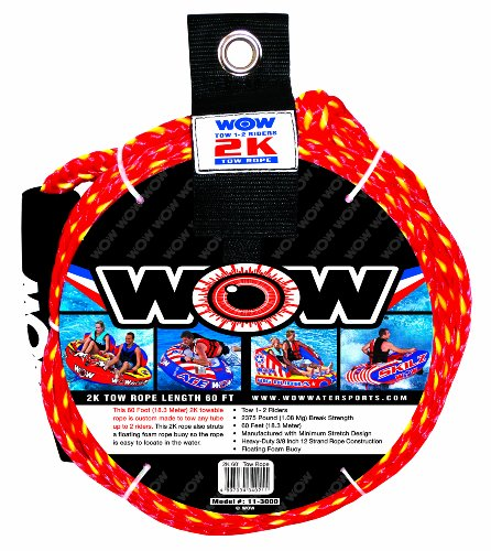 WOW World of Watersports, 11-3000, Tow Rope, up to 2 Riders, 60 Feet, 2375 Pounds Break Strength, Floating Foam Buoys