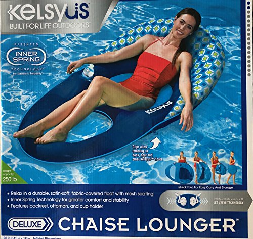 Kelsyus Deluxe Floating Lounger Chaise Lounger Blue Checkered Head Rest